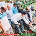 বানারীপাড়ায় ২৪৩ কেজি  মাছের পোনা অবমুক্ত